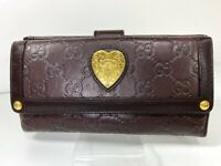 Auth GUCCI GG Pattern Heart Logos Leather Bifold Long Wallet Purse Italy Y1175