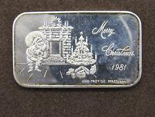 1981 1 oz Silver Art Bar CCM Merry Christmas 1981 999 Fine Ag Santa Chimney