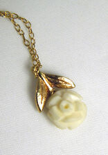 """VTG Carved Celluloid Rose Necklace DAINTY Gold Creamy Pendant Flower 15"""" Chain"""