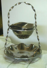 Vintage 2 Tier Silver Toned Glass Chip & Dip Bowl Set, Won't Tarnish or Stain