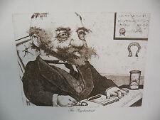 "Art print Charles Bragg artist black Lithograph the Psychiatrist"" Duotone Signed"