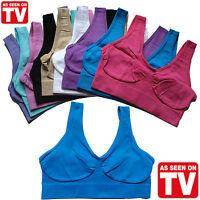 3 Pack WOMENS LADIES SEAMLESS CROP TOP COMFORT BRA SPORTS VEST STRETCH SHAPEWEAR