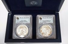 2001 P & D Buffalo Silver Dollar PCGS MS70 & PR70DCAM Black Diamond in Mint Case