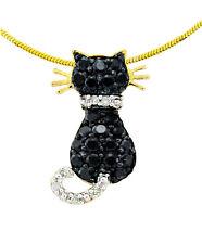 10K Yellow Gold Cat Pendant Black White Diamond Kitty Cluster Pendant .33ct