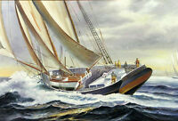 """Dream-art Oil painting seascape big sail boats ship on ocean with storm 24""""x36"""""""
