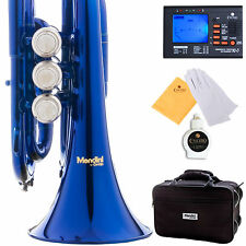 NEW BLUE LACQUER BRASS MINI/ POCKET Bb TRUMPET+TUNER