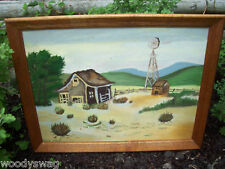 Barn Painting signed Chuck Willis Primitive Americana Art Vint Country Windmill