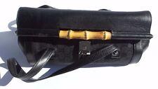 GUCCI Black Leather Monogram Canvas Bamboo Bullet Bag 111713 Satchel SHW Vintage