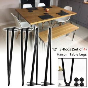 """12"""" Hairpin Table Legs (Set of 4) Black Steel 3-Rods for Industrial Design Look"""
