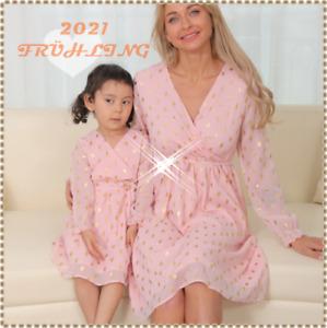 Spring Family Matching Outfits Pailletten Mutter Tochter kleid Mama und mich NEU