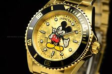 Invicta 40mm Disney Limited Ed. Pro Diver All Gold Blue Mickey Mouse SS Watch