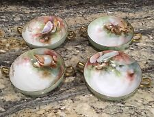 4 RARE T&V TRESSEMANES FRENCH LIMOGES LG CREAM SOUP BOWLS SEA LIFE GOLD TRIM