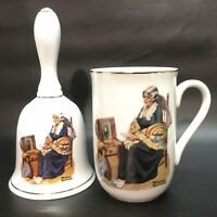 """Vintage, Norman Rockwell, Bell & Cup """"Memories """" w/Gold Gilding, VGC"""