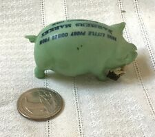 Vintage FIGURAL advertising TAPE MEASURE Celluloid Pig w fleur de lis Mark