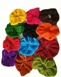 SELECT PAIR OF TWO LARGE  VELVET HAIR SCRUNCHIES IN 13 COLORS