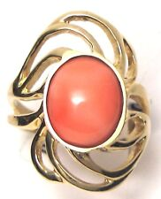 Ladies 14k yellow gold pink cabochan swirl pink coral ring