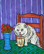 Scottish Fold Coffee shop 13x19 cat art Print abstract folk pop Art