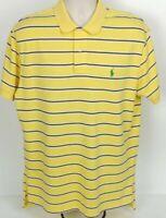 Polo Ralph Lauren S/S Golf Shirt Striped Yellow Blue White Men's, Size Large