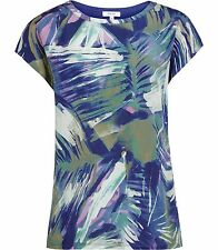 Reiss Billie Printed Silk Front T-Shirt Multi UK Size 8 Small TD075 EE 01