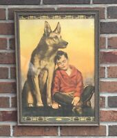 "Original 1940s Bradshaw Crandell Print ""Protection"" Boy and Dog German Shepherd"
