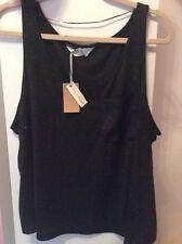 Women's Black Pyjama Vest Top 6-8,10-12