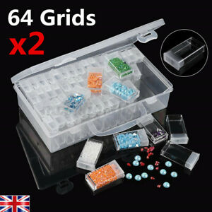 2Set 64Grids Diamond Embroidery Painting Nail Art Accessory Display Storage Box