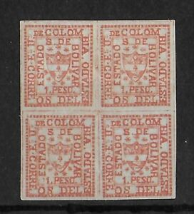 BOLIVAR COLOMBIA LOCAL 1863-1866 Mint LH 1 P Block of 4 Michel #3 VF Signed