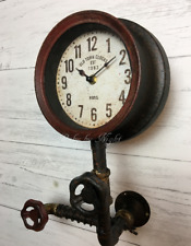 Vintage Industrial Style Pipe Wall Clock Retro Metal Steampunk Valve Warehouse