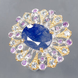 Handmade jewelry Blue Sapphire Ring Silver 925 Sterling  Size 8.75 /R166914