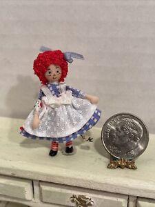 Vintage Artisan ETHEL HICKS Raggedy Ann Toy Doll Dollhouse Doll 1:12