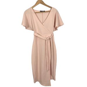 Boohoo Night Size 8 EUR 36 Pink Short Sleeve V-Neck Stretch Midi Wrap Dress
