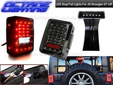 2007-2016 Jeep Wrangler JK Black LED Rear 3rd Third Brake Tail Lights Pair Set