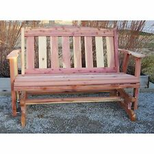 Hand Made Cedar Solid Wood Amish Made Glider Bench Outdoor Patio Deck Furniture
