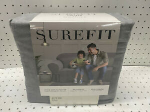 Surefit 1 Piece Sofa Slipcover Relaxed Fit with Side Ties Suede Grey