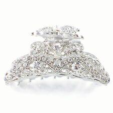 USA Vintage Metal Hair Claw Clip Rhinestone Crystal Hairpin Elegant Silver 807