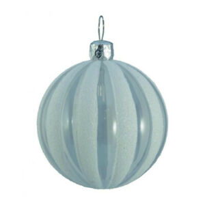 Clear Ribbed Glitter Baubles - Pack Of 6