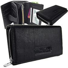 Elegante Damen  Geldbörse Portemonnaie Beutel Portmonee Leder 5341 Schwarz