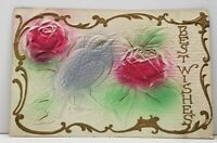 Best Wishes Embossed Airbrushed Bird Roses with Gilded Trim Postcard G16