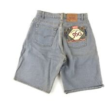 VTG 90's Levis 560 Loose Fit Shorts Men's 31 Mea 32 Gray Blue Denim Red Tab NWT