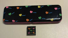Rare Vintage 1980s Kutsuwa Hearts Pencil Tin & Jelly Style eraser rubber gomme