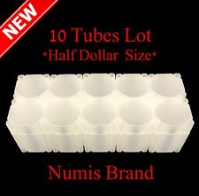 Lot - 10 Numis Square Coin Tubes Half Dollar Size Stackable Safe Storage Durable