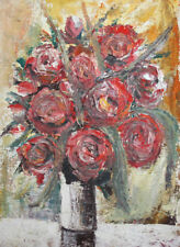 European impressionist oil painting still life with roses