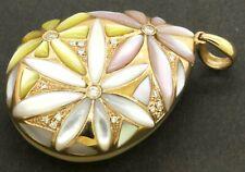 18K Rose gold elegant high fashion 0.15CT diamond & pearl flower pendant