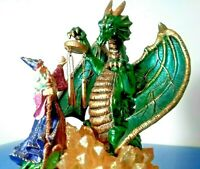 "MEDIEVAL DRAGON + WIZARD ☆ 8.5"" MUSICAL FIGURINE ☆COLLECTIBLE MYSTICAL + MAGIC ☆"