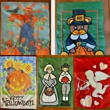 Garden Flags Lot of 5 Assorted Holidays/Seasons Preowned/Used Cute Colorful