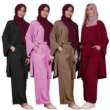 Muslim 3Pcs Casual Abaya Set Dubai Cardigan Tops Pants Islamic Kimono Dress Suit