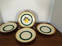 Stangl (3)Saucers (1) Bread Plate Bowls FRUIT Yellow Trim