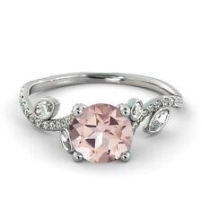 2Ct Round Pink Morganite Simulant Diamond Engagement Ring Silver White Gold Fnsh