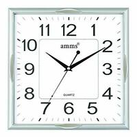 "LARGE 14"" SQUARE AMMS SILENT SWEEP MOVEMENT SILVER WHITE QUARTZ  WALL CLOCK"
