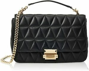 MICHAEL KORS 30S7GSLL1LLE SLOAN SMALL QUILTED LEATHER CROSSBODY BLACK